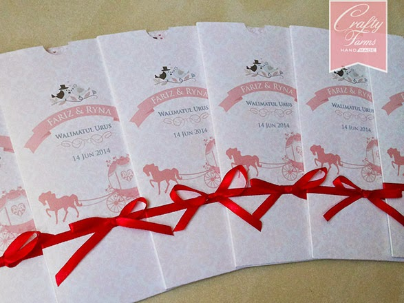 Pink and Red Horse Carriage Pocket Wedding Card with Ribbon
