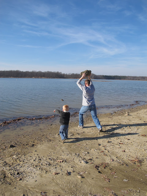 Porter & Daddy Throw Rocks into the Water