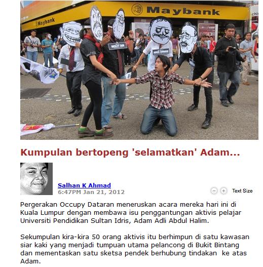 Pergerakan Occupy Dataran meneruskan acara mereka hari ini di Kuala