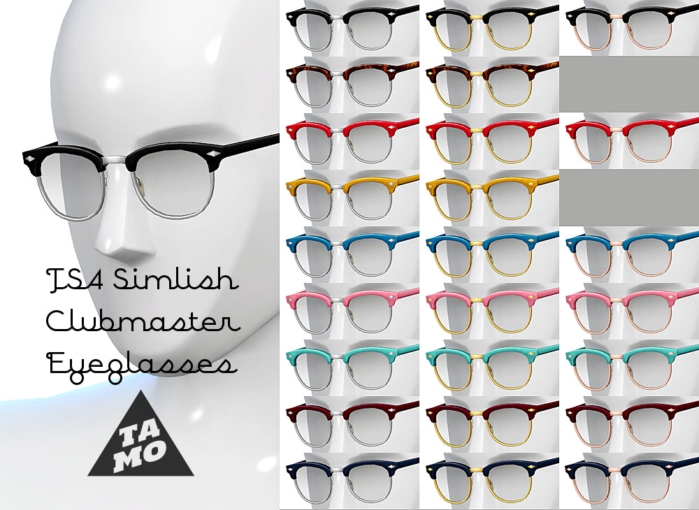 glasses like clubmaster  TS4] Simlish Clubmaster for Sims4 - TAMO