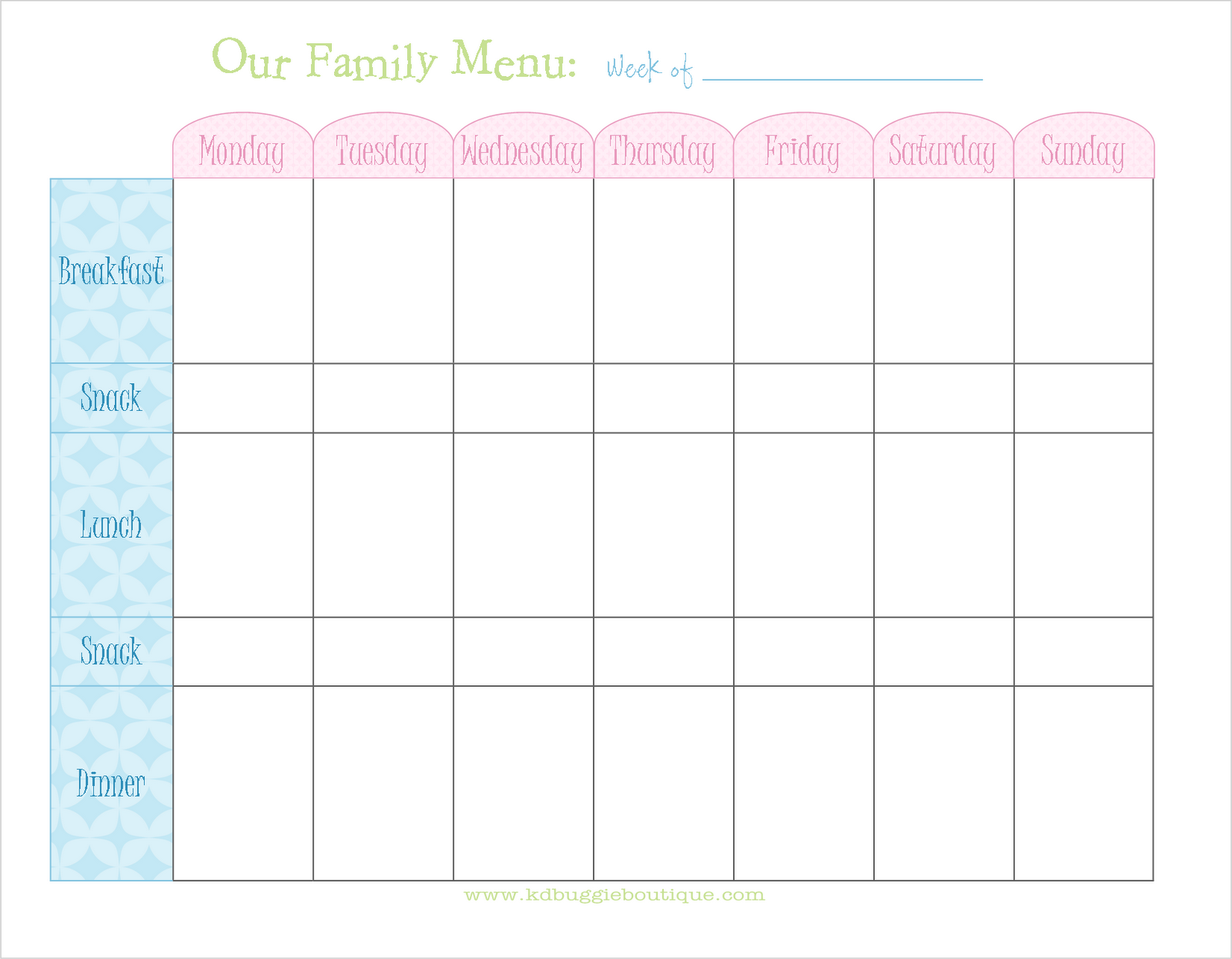 Naturally creative mama freebie weekly menu planner download for Free printable menu templates for kids