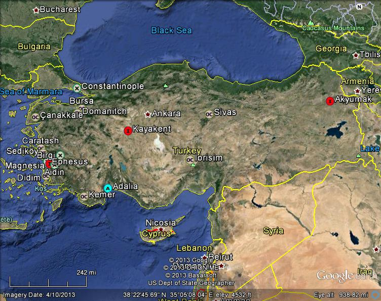 Meteorite maps and impact craters worldwide turkey meteorites map turkey meteorites map gumiabroncs Gallery