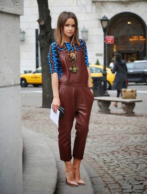 Miroslava Duma Style Leather Overalls