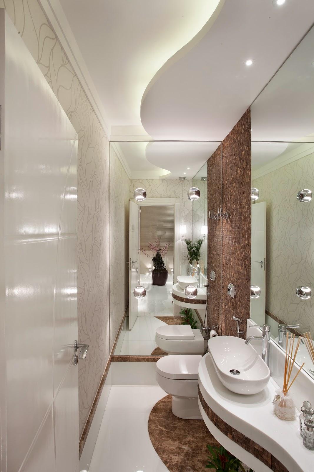 30 Lavabos pequenos e modernos veja dicas de como ousar e decorar  #3C2B1B 1067x1600 Banheiro Branco E Marron