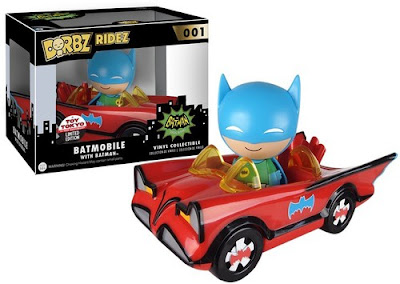 New York Comic Con 2015 Exclusive Red Batmobile '66 Dorbz Ridez DC Comics Vehicle with Blue & Green Batman 1966 Dorbz Mini Figure by Funko x Vinyl Sugar x Toy Tokyo