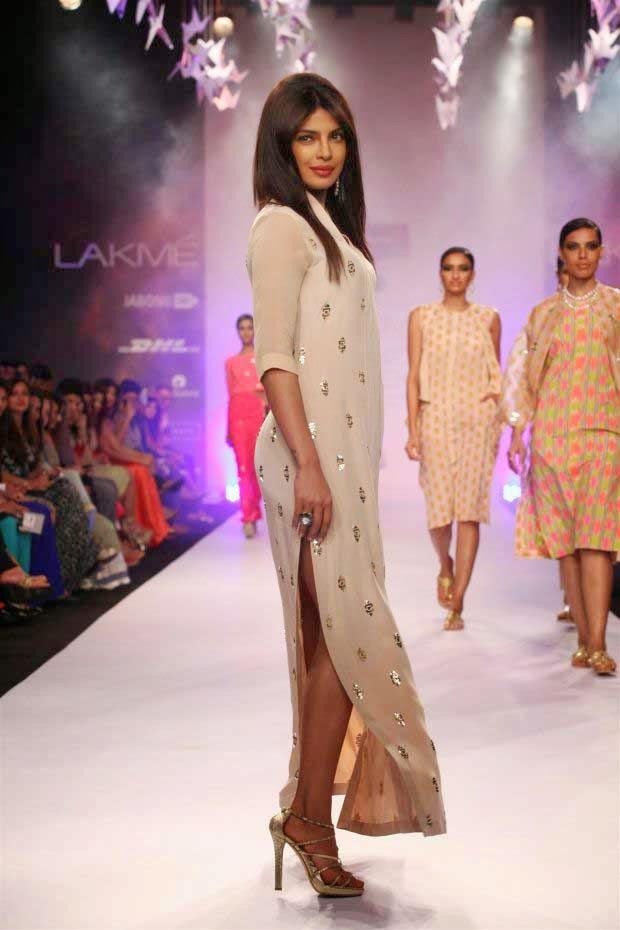 Priyanka Chopra showcases a creation by Neeta Lulla