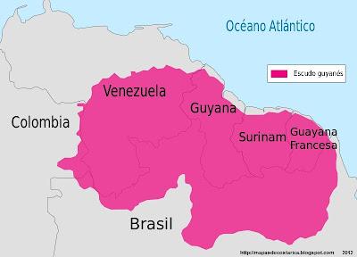 Mapa la Extensión del Escudo Guayanes