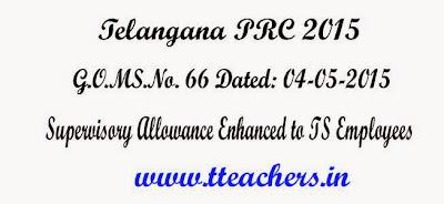 GO.66 TS PRC 2015 Supervisory Allowance Enhanced to Telangana Employees,G.O.MS.No. 66 Dated: 04-05-2015,10th PRC Supervisory Allowance,Go 66