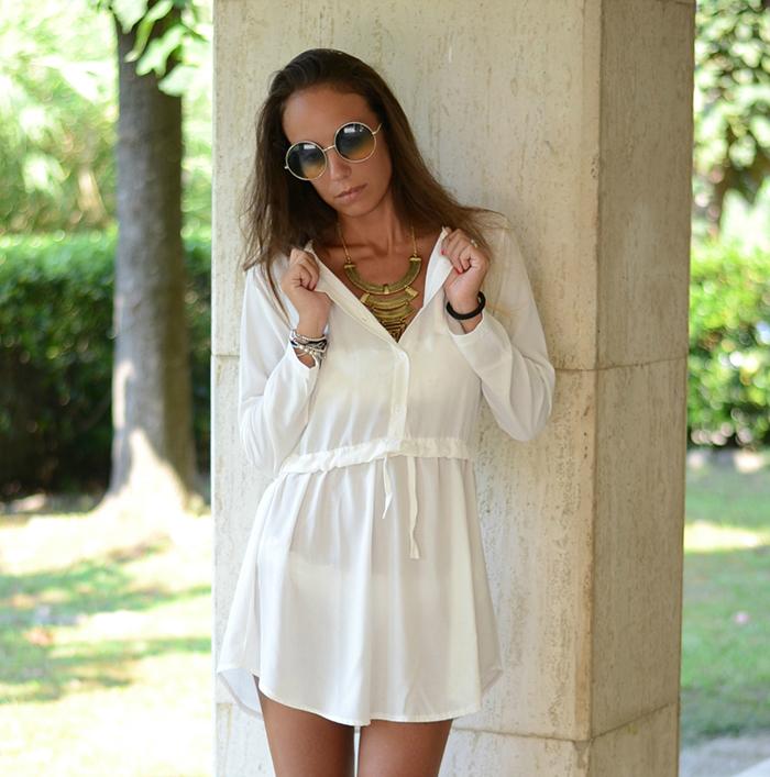 abito chemisier bianco