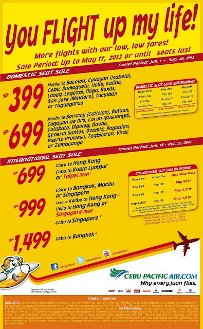 Cebu Pacific promo fares for May 2013
