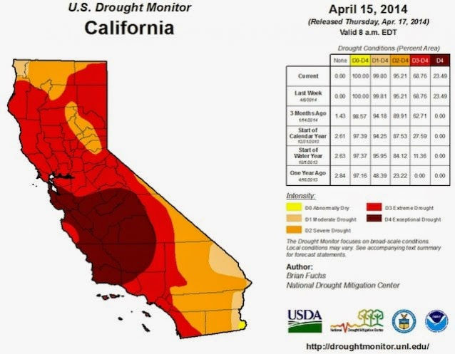 U.S. Drought Monitor California, April 15. 2014 (Credit: droughtmonitor.unl.edu) Click to enlarge.