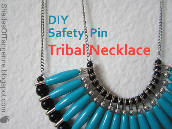 Shades of tangerine safety pin tribal necklace diy for Safety pins for jewelry making