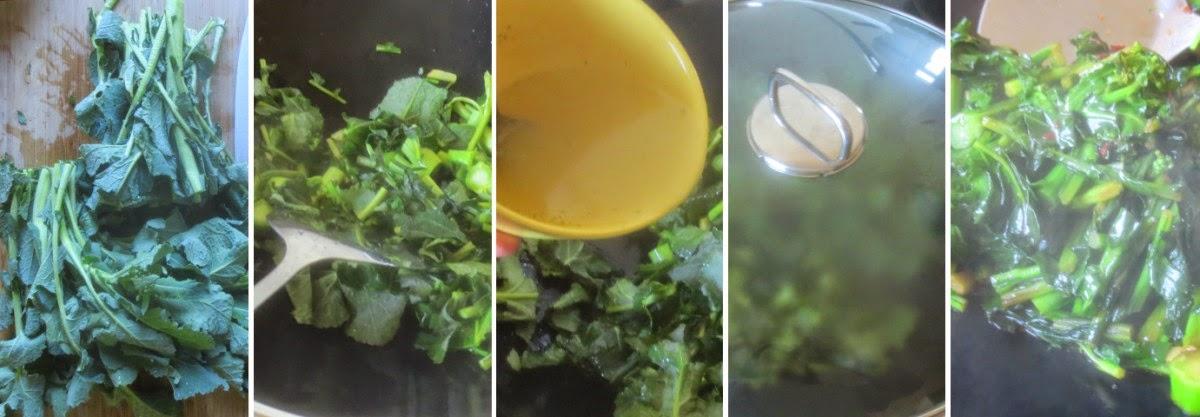 Zubereitung Senfgrün, kurz durchgewokt