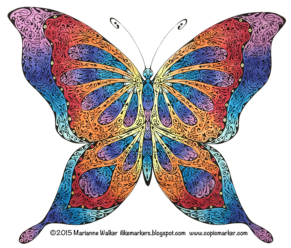 i like markers coloring a stylized butterfly
