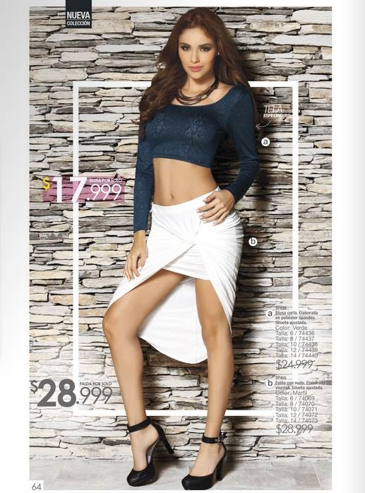Blusa corta y falda asimetrica, moda 2015