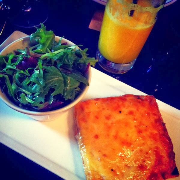 Croque monsieur and orange juice at Le Cafe Marly at the Louvre in Paris