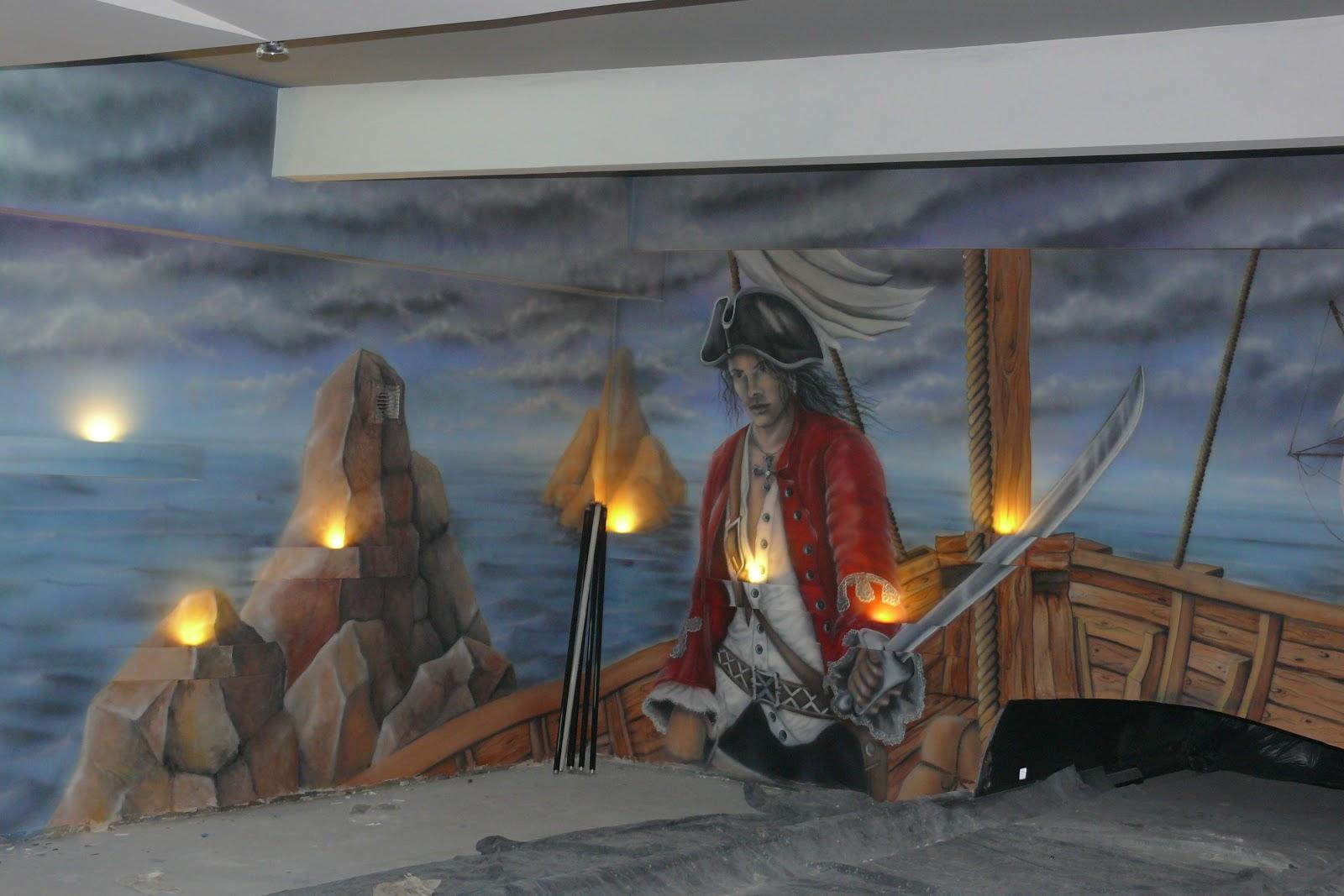 Artystyczne malowanie ściany w kręgielni, obraz o tematyce pirackiej, mural 3D