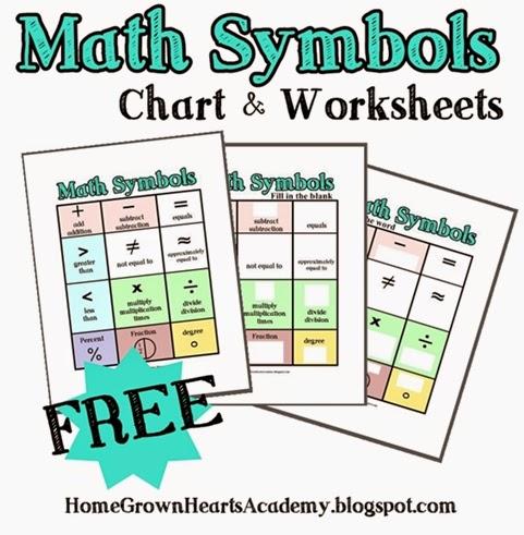 math worksheet : printable math symbols chart  educational math activities : Math Symbols Worksheet