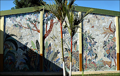 Wall mosaic at Colegio Ambientalista in Costa Rica