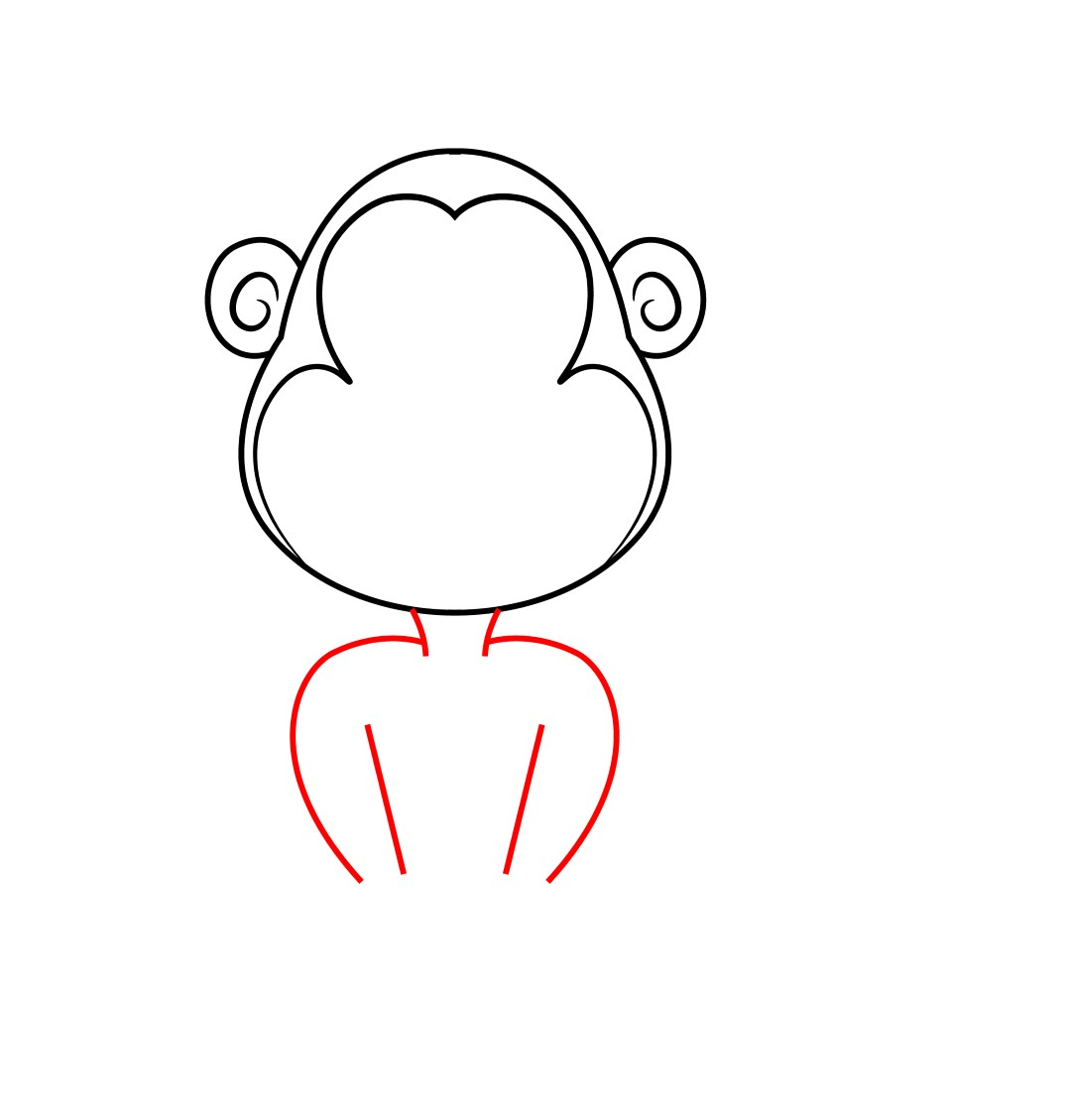 Next, We Need To Outline The Face Of Our Cartoon Monkey Inside The Head,
