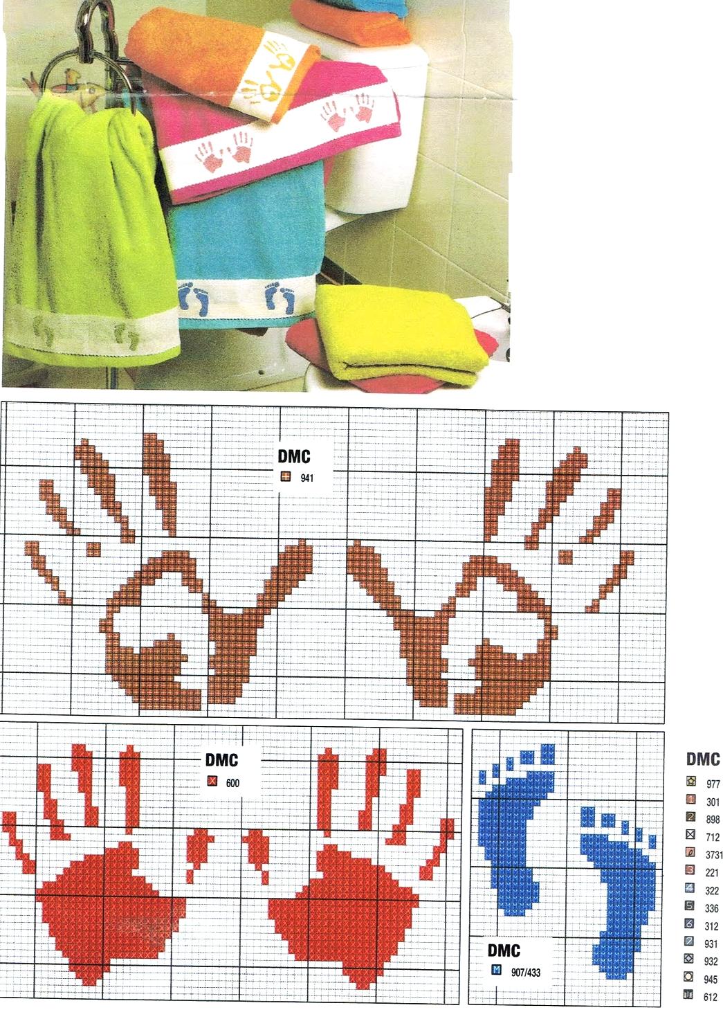 Schemi Punto Croce Salviette Bagno Fiori Di Lavanda Con Alfabeto