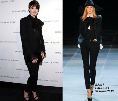 anne hathaway in saint laurent spring 2013