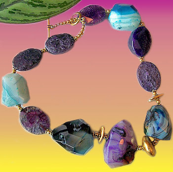 Magenta and Sea Breeze Agate Necklace
