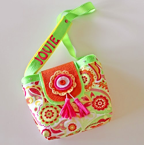 girls felt purse with name on strap