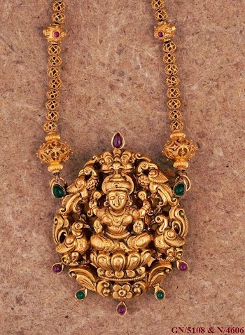 Latest gold jewellery designs antique gold necklace antique lakshmi pendant aloadofball Images