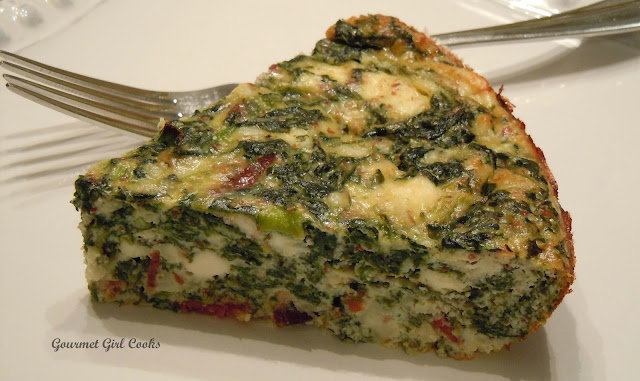 Gourmet Girl Cooks: Crustless Spinach-Feta Pie w/ Bacon -- Low Carb ...