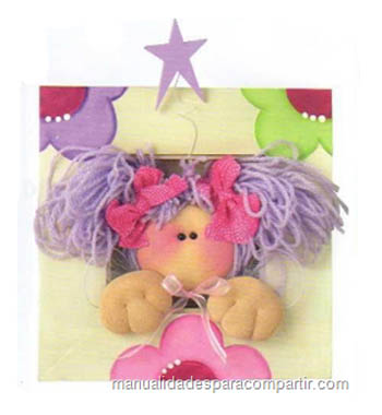 Como hacer cuadrito infantil decorado con hada de tela. Manualidades para compartir