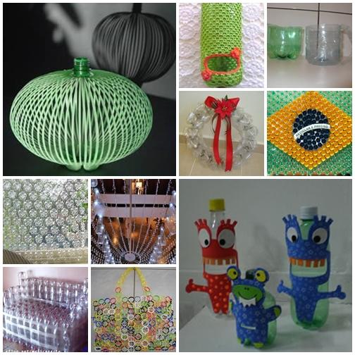 Idéias de artesanatos com garrafas pet recicladas