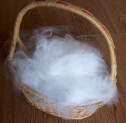 . beautiful basket of wool I've collected from Alfred, my english angora.