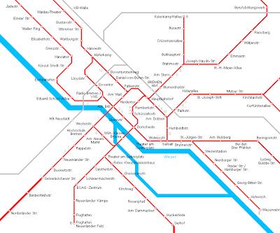 Bremen Karte von U-Bahn