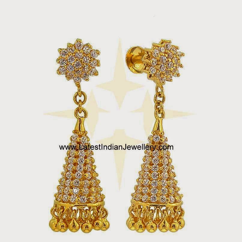 Trendy CZ Gold Jhumka Earrings