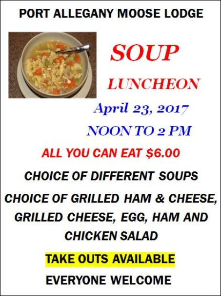 4-23 Soup Luncheon, Port Allegany Moose Lodge