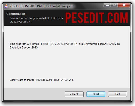 Antarmuka instalasi PESEDIT.COM 2013 Patch