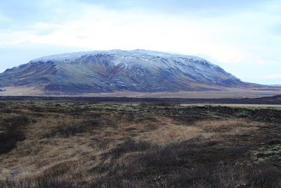 View of Burfell Table Volcano from Kerið Volcano Crater