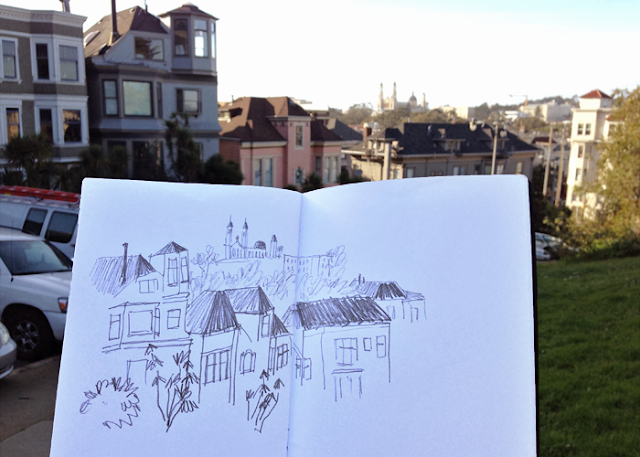 Diana Toledano sketching in the city. Pencil sketch of Buena Vista Park in San Francisco