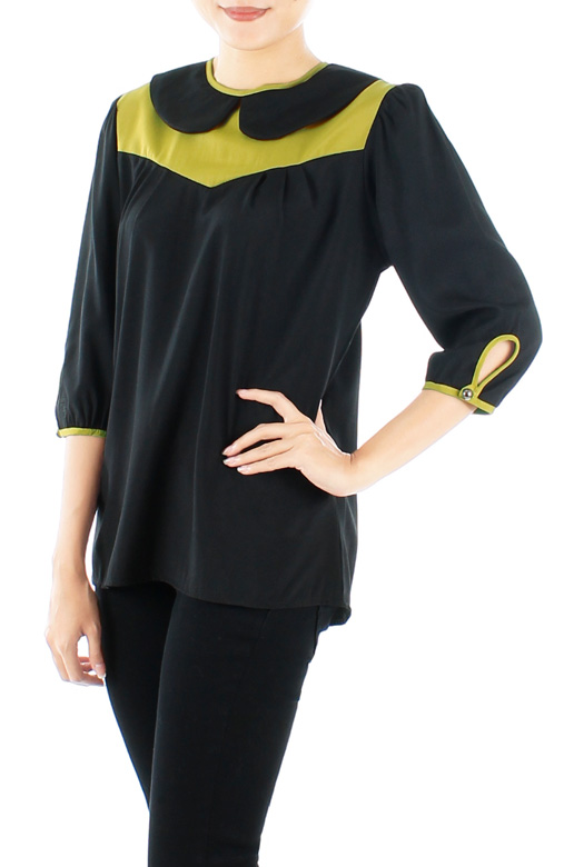 Black Darling Peter Pan Collar Blouse with Contrast Detailing