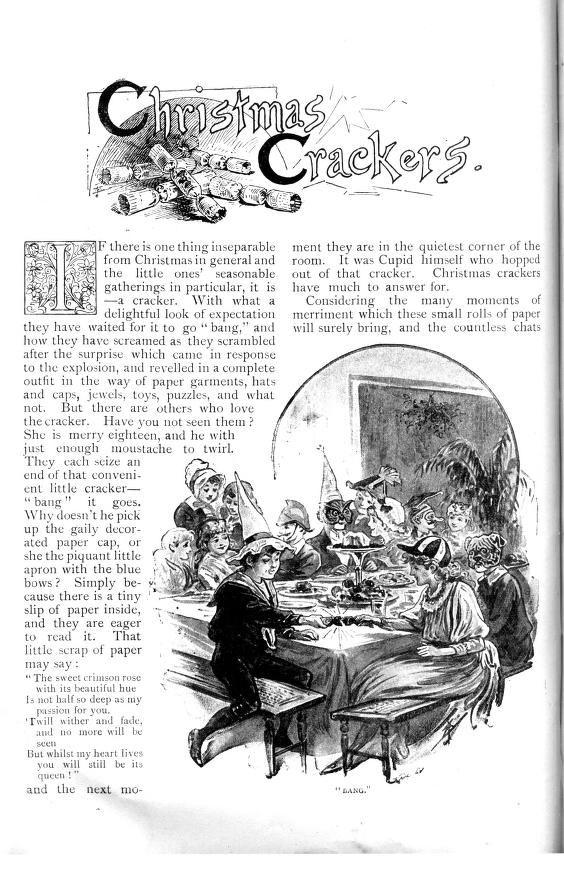 Family opening Christmas Crackers containing masks and hats - Strand Magazine  - Published December 1891