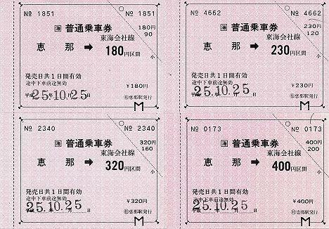 JR東海 常備券 恵那駅 金額式