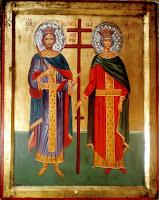 Sfintii Imp. Constantin si Elena, pictura in tempera pe lemn
