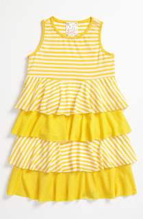 Vanilla Pink Little girls  yellow frock