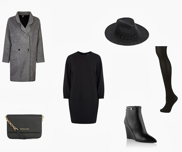Msgm draped twill dress, Stetson hat, Michael Kors bag, C'est Tout oversize coat, Hugo Boss boots, Topshop tights, fall winter outfit, styling by katarina vidic, black tights outfit