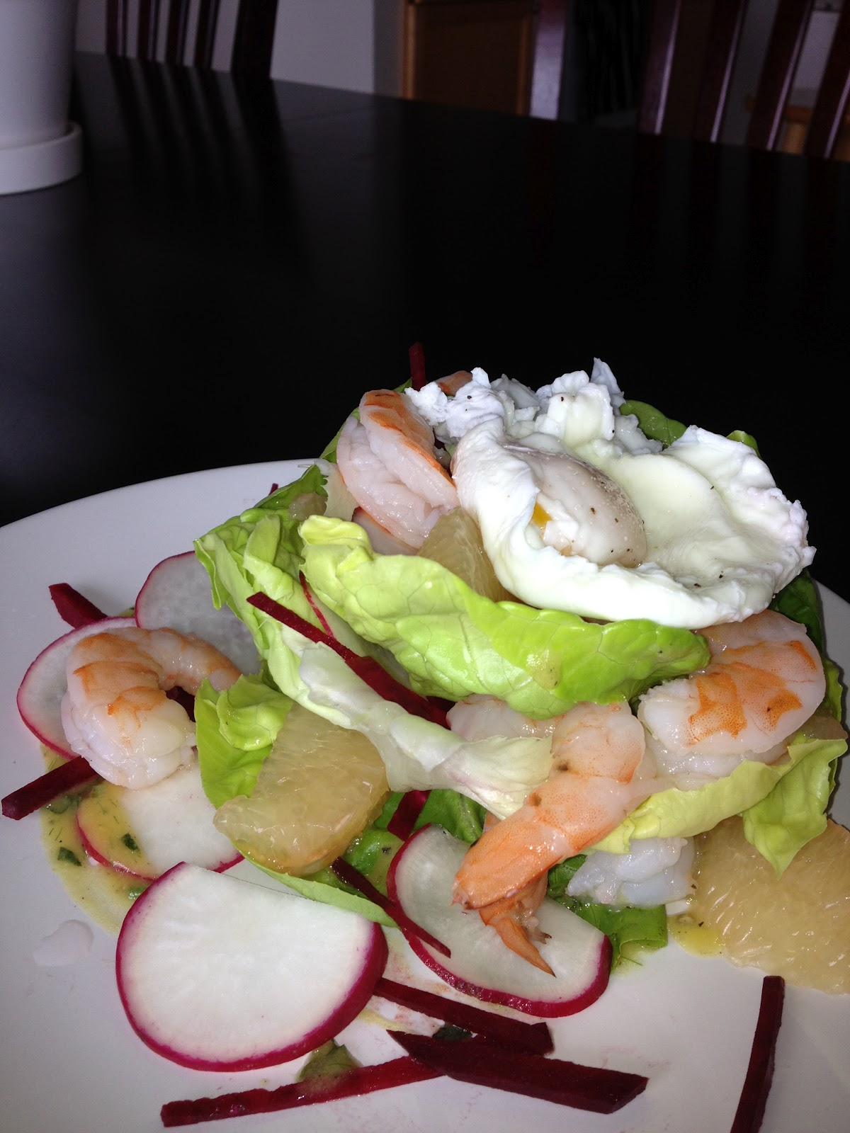 ... Epicurious...: Citrus Butter Lettuce Salad with Poached Prawns