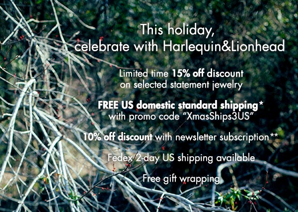Harlequin&Lionhead jewelry - 15% off selected statement jewelry, free US domestic standard shipping, 10% off with newsletter subscription, and more!