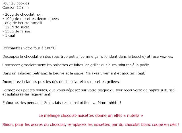 image recette Cookies chocolat noisettes grillées