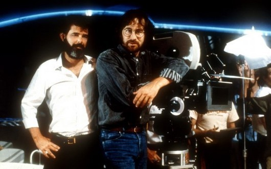 George Lucas And Steven Spielberg On The Set Of Indiana Jones