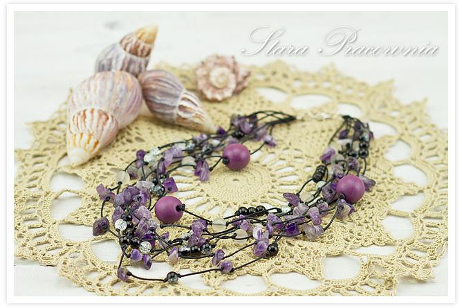 Korale, Korale z ametystem, naszyjnik, Rękodzieło, Biżuteria autorska, unikalne koralem, Biżuteria hand made